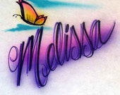 Personalized airbrush shirt   script name and butterfly  design