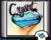 Custom designed t-shirt handpainted beach palms airbrush
