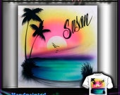 AIRBRUSH CUSTOM - Sunset Beach Palm Tree T-shirt Design
