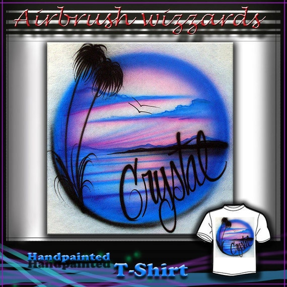 Airbrush T Shirt Palm Tree Sunset Design By