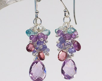 AAA Rose Amethyst Earrings Gemstone Cluster Earrings Handmade
