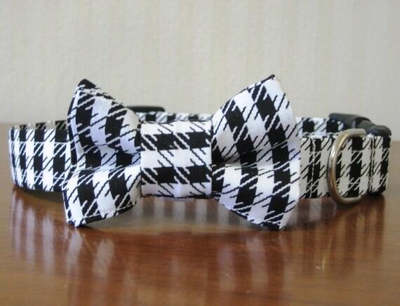 Bow Tie Dog Collar - Hound Dog Houndstooth
