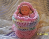 CUPCAKE CROCHET CRADLE PURSE WITH BABY AND BLANKET AND PILLOW