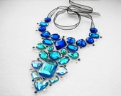 Glittering Variegating Blue Rhinestone Floating Statement Necklace