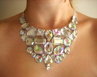 Crystal AB Bib Necklace, Rhinestone Bridal Bib Necklace, Clear Rhinestone Bib Necklace, Clear AB Statement Bib Necklace, Wedding Necklace