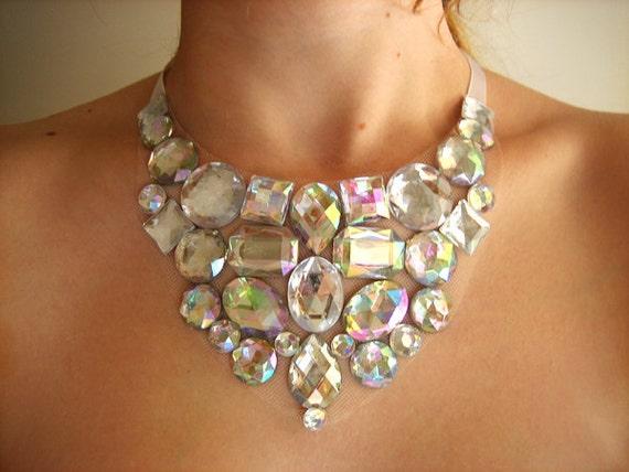 Crystal AB Rhinestone Bib Necklace, Jeweled Bridal Wedding Jewelry, Simple Clear AB Statement Necklace