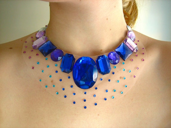 Glittering Floating Illusion Gem Statement Necklace, Fantasy Burlesque Choker, Royal Blue, Purple, Aqua and Clear Rhinestones