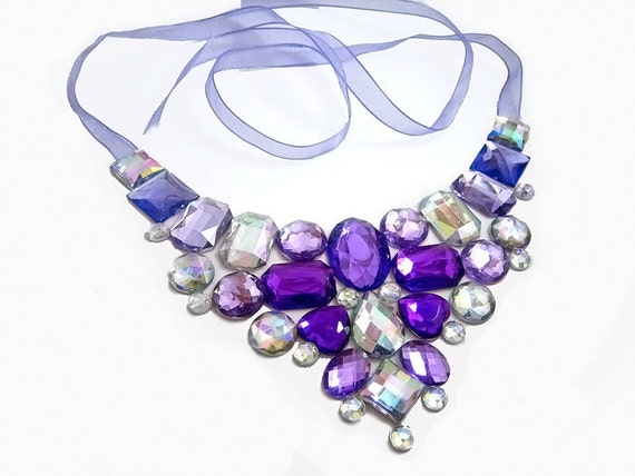 Stunning Purple and Clear AB Rhinestone Statement Bib Necklace