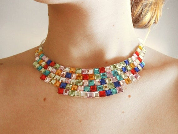 Sparkling and Colorful 'Pixelated' Rhinestone Collar Statement Necklace, Unique Collar Jewelry for Cocktail Parties