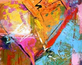 """ABSTRACT  HEART ORIGINAL Painting """"Jubilant Love""""  Mixed Media 7"""" x 7"""" on paper Ready to frame  Expressionistic Art by Elizabeth Chapman"""