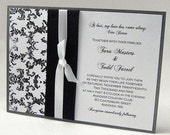 Damask and Layered Ribbon Invitation