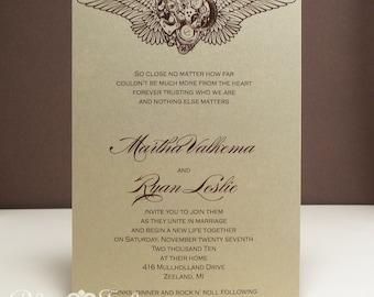 Winged Clockwork Heart Steampunk Wedding Invitation