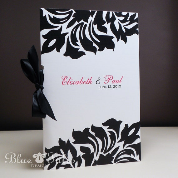 Damask Wedding Program 2 Pc With Satin Ribbon By