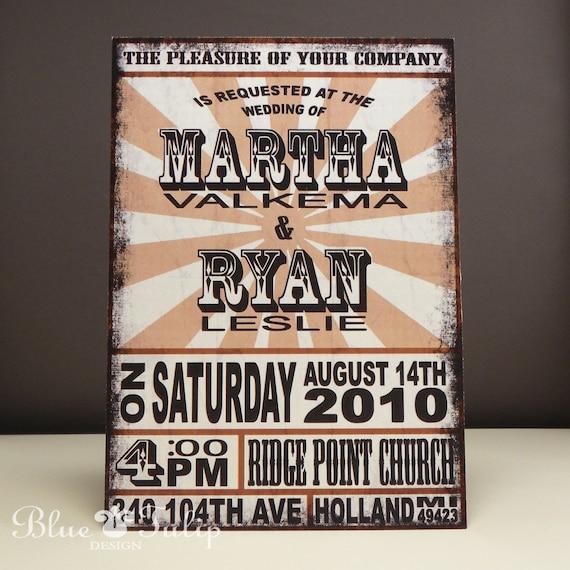 Vintage Rock Poster Wedding Invitation Distressed Finish