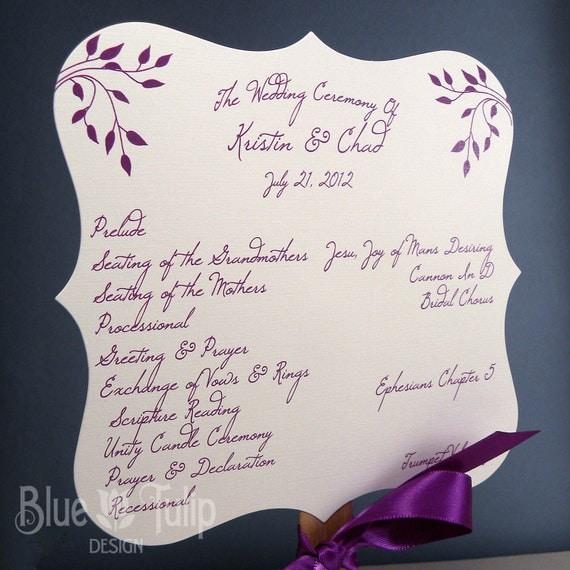 Paddle Fan Wedding Program in Purple Punch