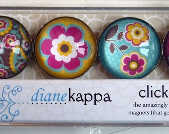 4 Pack of Amazingly Strong Magnets with Paisley Blossom Design