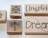 5 Wood Mounted Stamps-  DREAM, INSPIRE, Dagonfly, fleur de lis and knot