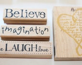 5 Wood Mounted Rubber Stamps-Believe, Imagination, Live Love Laugh, Heart, Heart with Script