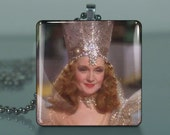 Glinda - 485  / Large Glass Tile Necklace Pendant / Buy 2 Get 3rd Free / Includes Chain / Free Shipping .