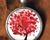 Heart Tree - E16 / DOMED Glass Tile Pendant /  Includes Chain and Free Shipping