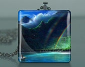 The End of the Rainbow - J96  /Large Glass Tile Pendant / Buy 2 Get 3rd Free / Includes Chain and Free Shipping