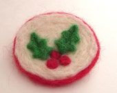 Holly and berries coat pin