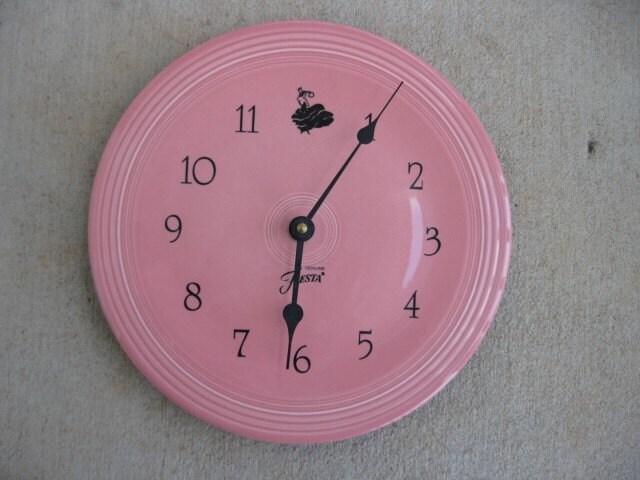 Vintage Fiestaware Pink Plate Wall Clock
