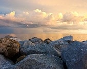 Large Oversized Print Landscape Photograph - Rocks, Water, Clouds - Fine Art Photography by Tricia McKellar