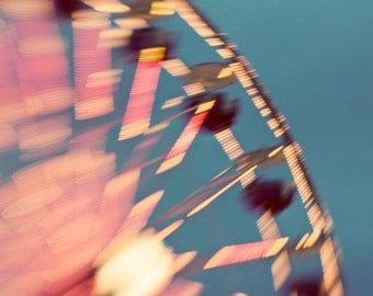 Ferris Wheel Print. Carnival Metallic Photography Print by Tricia McKellar. No. 2303. Blurred with lensbaby.