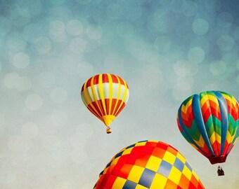 Hot Air Balloons Dreamy Whimsical Photography Print. Rising No. 3218