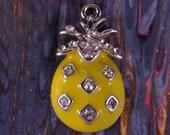 Pineapple Charm Silver-tone Metal Yellow Epoxy and Rhinestones