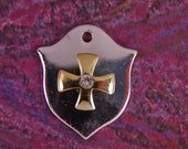 SALE- HERALDRY- Two-tone Heraldry Shield Charms with Cross