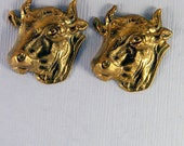 Set of Two Copper Brass Steer Head Stamping Dimensional Left-facing
