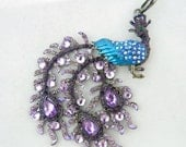 Peacock Pendant with Purple and Blue Rhinestones