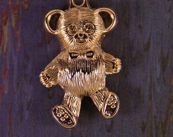 Gold-tone Metallic Plastic Large Dimensional Teddy Bear Charm