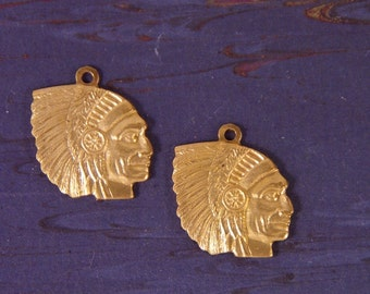 Two Vintage Brass Indian Head Charms