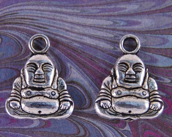 Pair of Silver-tone Jolly Buddha Charms