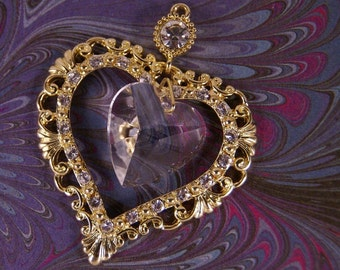 Gold-tone Rhinestone Edged Heart with Crystal Heart Dangle Pendant Charm