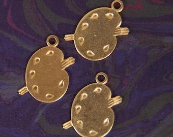 12 Brass Artist Palette Charms