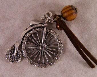 Antique Silver-tone Rhinestone Tricycle Pendant