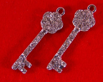 Small Pair of Rhinestone Skeleton Key with Flower-shape Top Charms