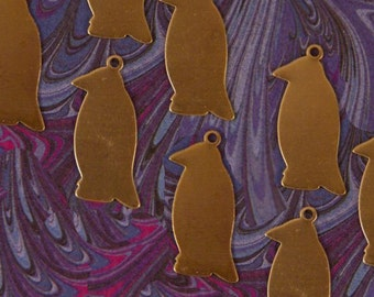 Set of 8 Blank Brass Penguin Charms