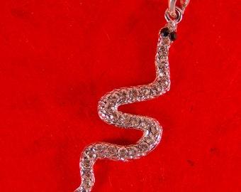 Snake Pendant with Black Rhinestone Eyes Silver-tone Rhinestone Accented Slithering