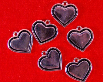 Set of 6 Silver-tone Heart Charms with Black Inline
