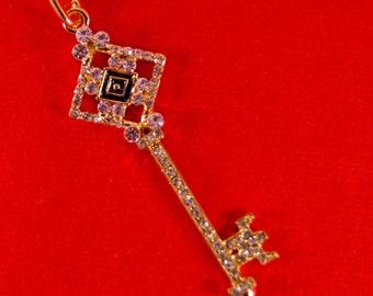 Rhinestone Skeleton Key with Diamond Shape Top Pendant Gold-tone