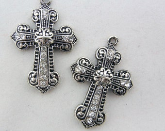 Pair Antique Silver-tone Marcasite-like Cross Charms with Rhinestone Accents SYMBOL