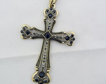 Antique Gold-tone Cross Black Hematite Rhinestones Pendant