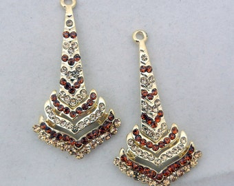 Art Deco Style Gold-tone Topaz Rhinestone Drop Charms