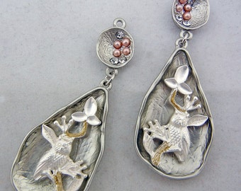 Pair of Silver-tone Teardrop Shape Owl Charms