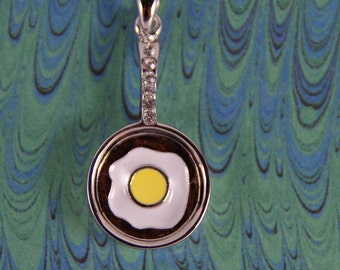 Fried Egg in Pan with Rhinestone Handle Pendant Silver-tone